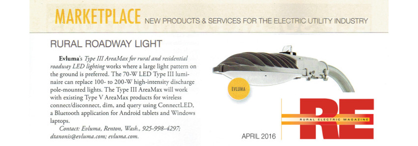 April RE Magazine MARKETPLACE features AreaMax Type III Rural Roadway Light
